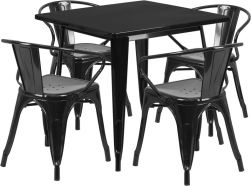 "32"" Square Metal Dining Table Set - Black"