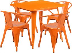 "32"" Square Metal Dining Table Set - Orange"