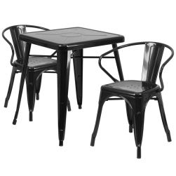 "24"" Square Metal Dining Table Set - Black"