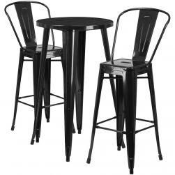"24"" Round Metal Bar Table Table Set - Two Chairs"