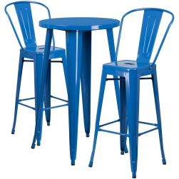 "24"" Round Metal Bar Table Table Set - Two Chairs - Blue"