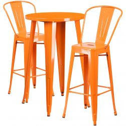 "24"" Round Metal Bar Table Table Set - Two Chairs - Orange"