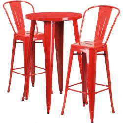 "24"" Round Metal Bar Table Table Set - Two Chairs - Red"