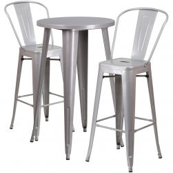 "24"" Round Metal Bar Table Table Set - Two Chairs - Silver"