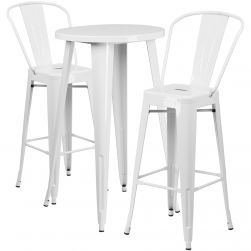 "24"" Round Metal Bar Table Table Set - Two Chairs - White"