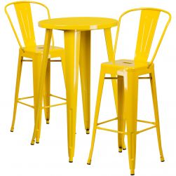 "24"" Round Metal Bar Table Table Set - Two Chairs - Yellow"