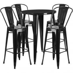 "30"" Round Metal Bar Table Table Set - Black"