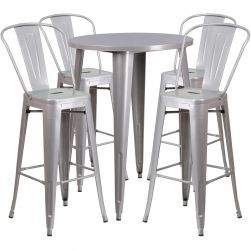 "30"" Round Metal Bar Table Table Set"