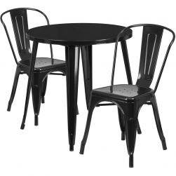 "30"" Round Metal Dining Table Set - Stack Chairs - Black"