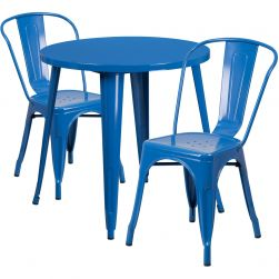 "30"" Round Metal Dining Table Set - Stack Chairs - Blue"