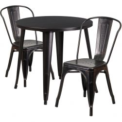 "30"" Round Metal Dining Table Set - Stack Chairs - Black Antique Gold"