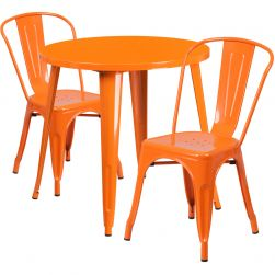 "30"" Round Metal Dining Table Set - Stack Chairs - Orange"