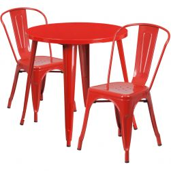 "30"" Round Metal Dining Table Set - Stack Chairs - Red"