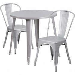 "30"" Round Metal Dining Table Set - Stack Chairs - Silver"