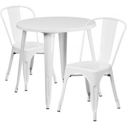 "30"" Round Metal Dining Table Set - Stack Chairs - White"