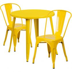 "30"" Round Metal Dining Table Set - Stack Chairs - Yellow"