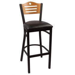 Hudson Bar Stool - Natural - Black Vinyl Seat