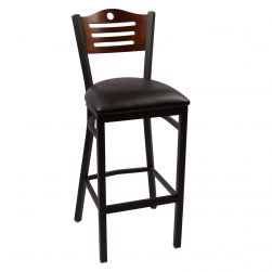 Hudson Bar Stool - Walnut - Black Vinyl Seat