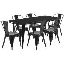 "32"" x 63"" Rectangular Metal Dining Table Set - Six Chairs"
