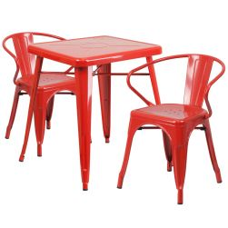 "24"" Square Metal Dining Table Set - Red"