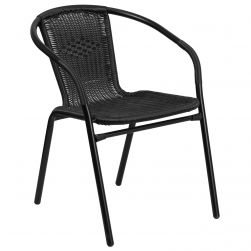 Steel Indoor & Outdoor Rattan Chair - Black