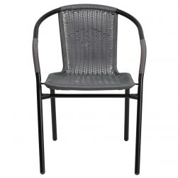 Steel Indoor & Outdoor Rattan Chair - Grey