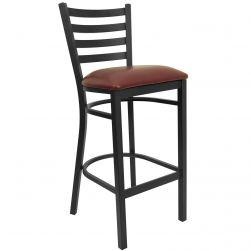 Ladder Back Metal Restaurant Bar Stool - Black Frame - Burgundy Viinyl Seat