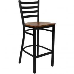 Ladder Back Metal Restaurant Bar Stool - Black Frame - Cherry Wood Seat