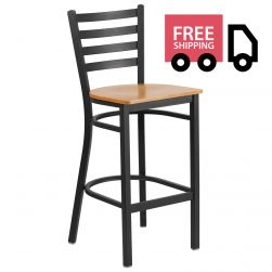 Ladder Back Metal Restaurant Bar Stool - Black Frame