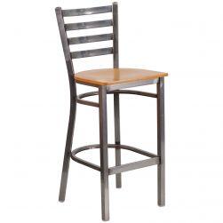 Ladder Back Metal Restaurant Bar Stool - Clear Coat Frame - Natural Wood Seat