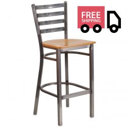 Ladder Back Metal Restaurant Bar Stool - Clear Coat Frame