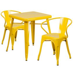 "24"" Square Metal Dining Table Set - Yellow"